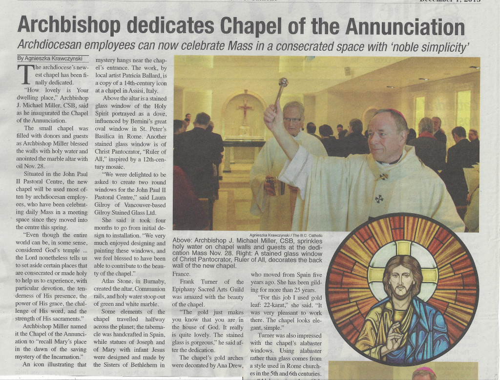 BC Catholic article, dedication of the Chapel