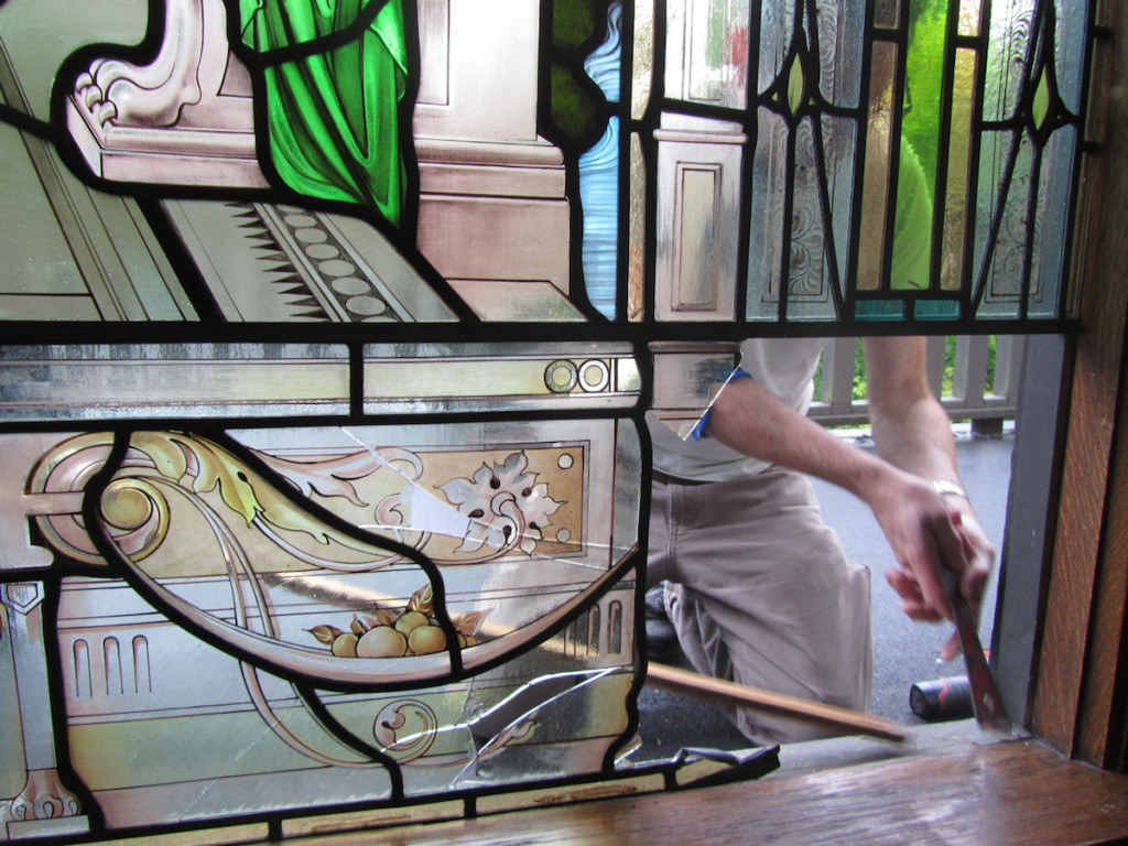 Shaughnessy restoration, removal of damaged window©Gilroy Stained Glass